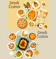 greek cuisine tasty lunch dishes icon set vector image vector image