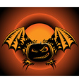Halloween label with pumpkin wings vector image