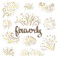 hand drawn colorful fireworks on white background vector image vector image
