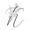 hand drawn floral k monogram and logo vector image