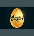happy easter golden egg in textured foil style vector image