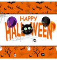 happy halloween background with spiderweb and text vector image vector image