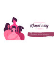 happy women day pink girl friend together banner vector image vector image
