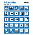 informational road blue symbols set vector image vector image