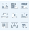interior design set Linear icons for interior vector image vector image