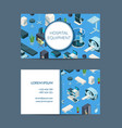 isometric hospital icons business card vector image
