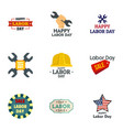 labor day sale logo set flat style vector image vector image