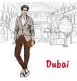 man in shopping mall in dubai vector image