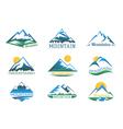 mountains logo set mountain peak landscape vector image vector image