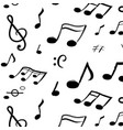 music notes pattern seamless texture hand vector image