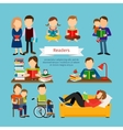 People characters reading book or magazines vector image vector image