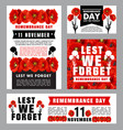 remembrance day memorial card red poppy flower vector image vector image