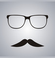 retro mustache and glasses symbol vector image vector image