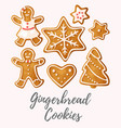 set of gingerbread cookies vector image vector image