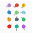 Set of icons of linear mapping graceful vector image