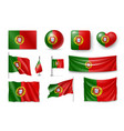 set portugal flags banners banners symbols vector image