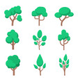 set tree in flat style isolated on white vector image