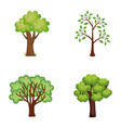 set trees plants icons vector image