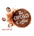 Set Watercolor Coffee Badges 4 vector image