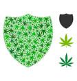 shield mosaic of marijuana vector image
