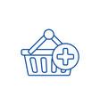 shopping cart plus line icon concept shopping vector image vector image