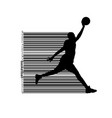 silhouette of a basketball player and barcode vector image vector image