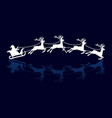 silhouettes of santa and deers vector image vector image