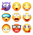 smileyemoticon set yellow face with emotions vector image vector image