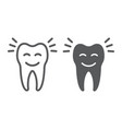smiling tooth line and glyph icon stomatology vector image vector image