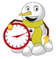 snowman with clock on white background vector image