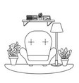 studying room icon black and white vector image