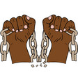 two male hands holding a torn chain vector image