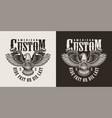 vintage monochrome custom motorcycle emblem vector image vector image