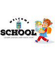welcome to school banner cartoon girl going with vector image