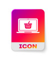white shopping basket on screen laptop icon vector image vector image