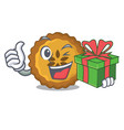 with gift apple pie on the character board vector image