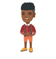 african-american cheerful boy laughing vector image