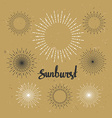 Vintage sunburst collection Hipster style on the vector image