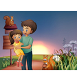 A father carrying his daughter at the hilltop vector image vector image