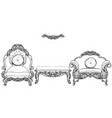 baroque armchair and table set with luxurious vector image vector image