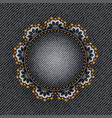 black denim circle with lace vector image vector image