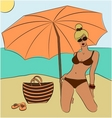 blond girl on beach vector image vector image