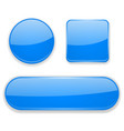 blue glass buttons 3d icons vector image vector image