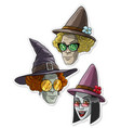 cartoon funny halloween witches with big hats vector image