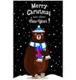 christmas new year greeting card of cartoon bear vector image vector image