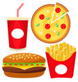 colorful fast food icon set poster vector image