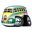 Colorful Hippie Surfer Bus vector image
