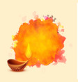 diwali festival diya on watercolor background vector image vector image