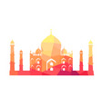famous indian building of taj mahal vector image vector image