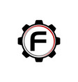 gear solution logo letter f vector image vector image